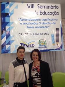 A secretária de Educação de Costa Rica, Manuelina Arantes Cabral e a secretária de Estado de Educação, Maria Cecilia Amendola da Motta.