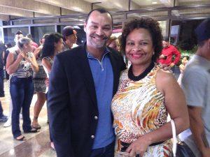 José Antonio, diretor da EE Profª Célia Maria Náglis, e Silvana, diretora da EE Manoel Bonifácio Nunes da Cunha.